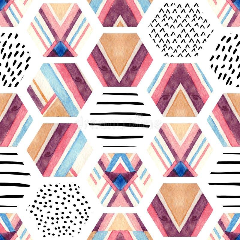Sömlös modell för vattenfärgsexhörning med geometriska dekorativa beståndsdelar royaltyfri illustrationer