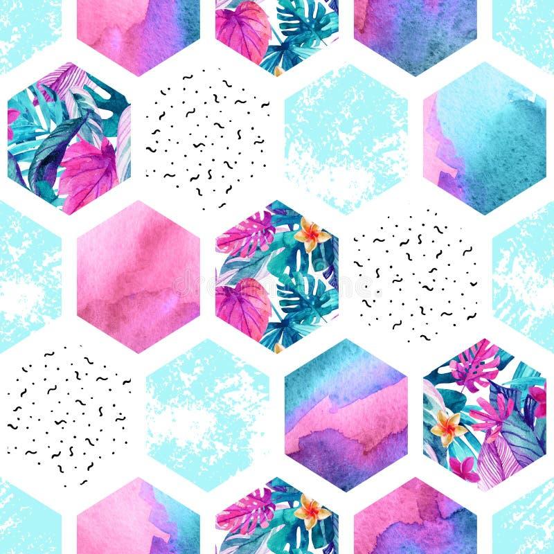 Sömlös modell för vattenfärgsexhörning med geometriska prydnadbeståndsdelar stock illustrationer