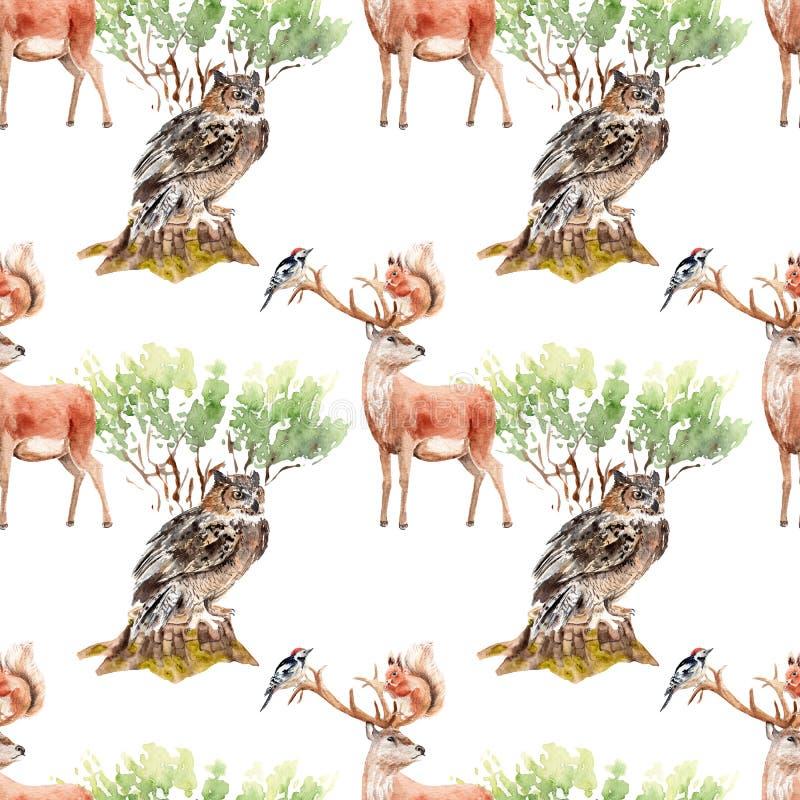 Sömlös modell för vattenfärgskog med djur och växter vektor illustrationer
