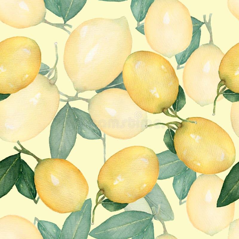 Sömlös modell för vattenfärgtappning, filial av den nya citrusa gula fruktcitronen, gröna sidor Naturlig illustration som isolera royaltyfri illustrationer