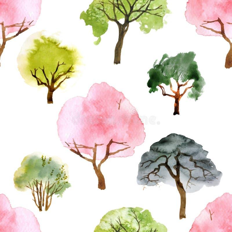 Sömlös modell för vattenfärgträd royaltyfri illustrationer