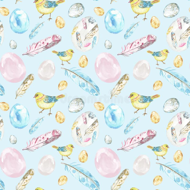 Sömlös modell för vattenfärgvårpåsk på pastellfärgad blå bakgrund med fågelungefåglar, ägg, fjädrar stock illustrationer