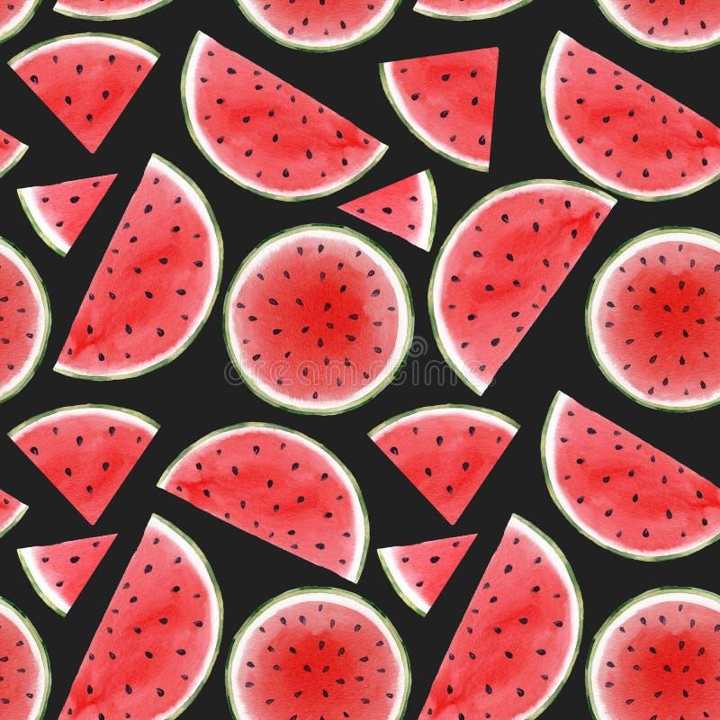 Sömlös modell för vattenfärgvattenmelon vektor illustrationer