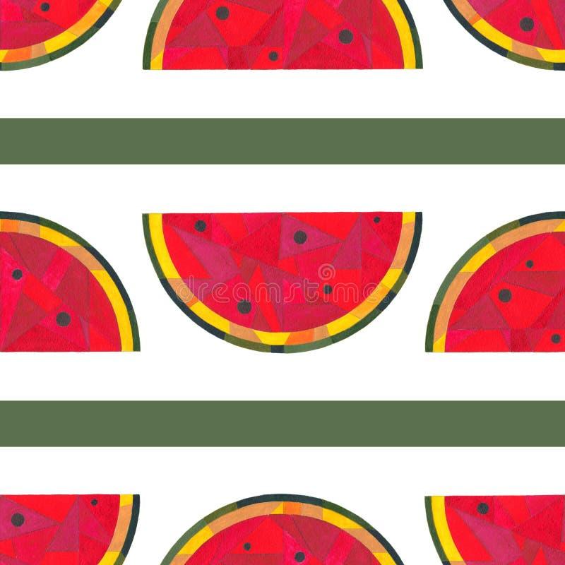 Sömlös modell för vattenfärgvattenmelon Handen målade abstrakt geometrisk bakgrund för yttersidadesign, textilen som slår in stock illustrationer