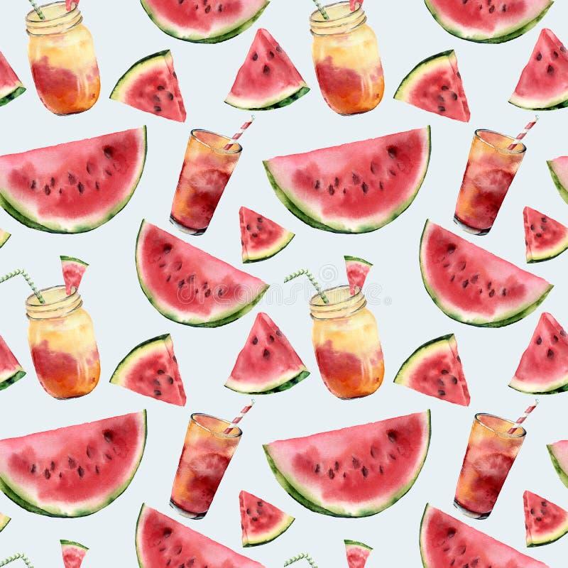 Sömlös modell för för vattenfärgvattenmelon och coctail Räcka den målade vattenmelonskivan med fruktcoctailen som isoleras på royaltyfri illustrationer