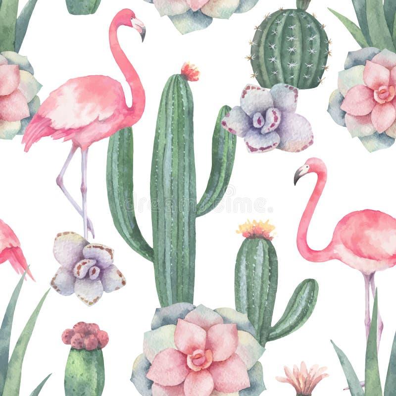 Sömlös modell för vattenfärgvektor av den rosa flamingo, kakturs och suckulentväxter som isoleras på vit bakgrund stock illustrationer