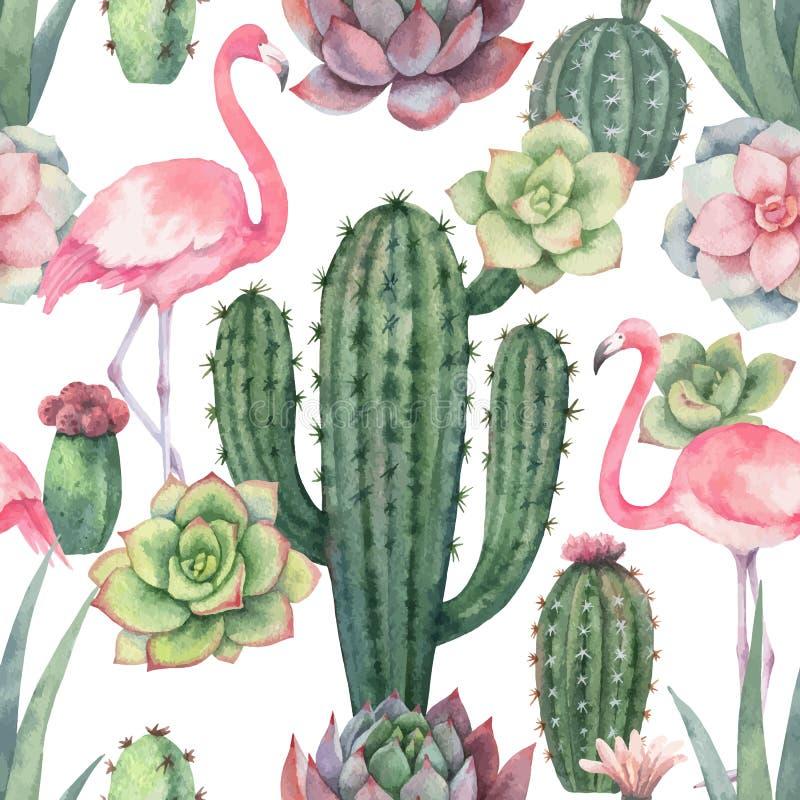 Sömlös modell för vattenfärgvektor av den rosa flamingo, kakturs och suckulentväxter som isoleras på vit bakgrund vektor illustrationer