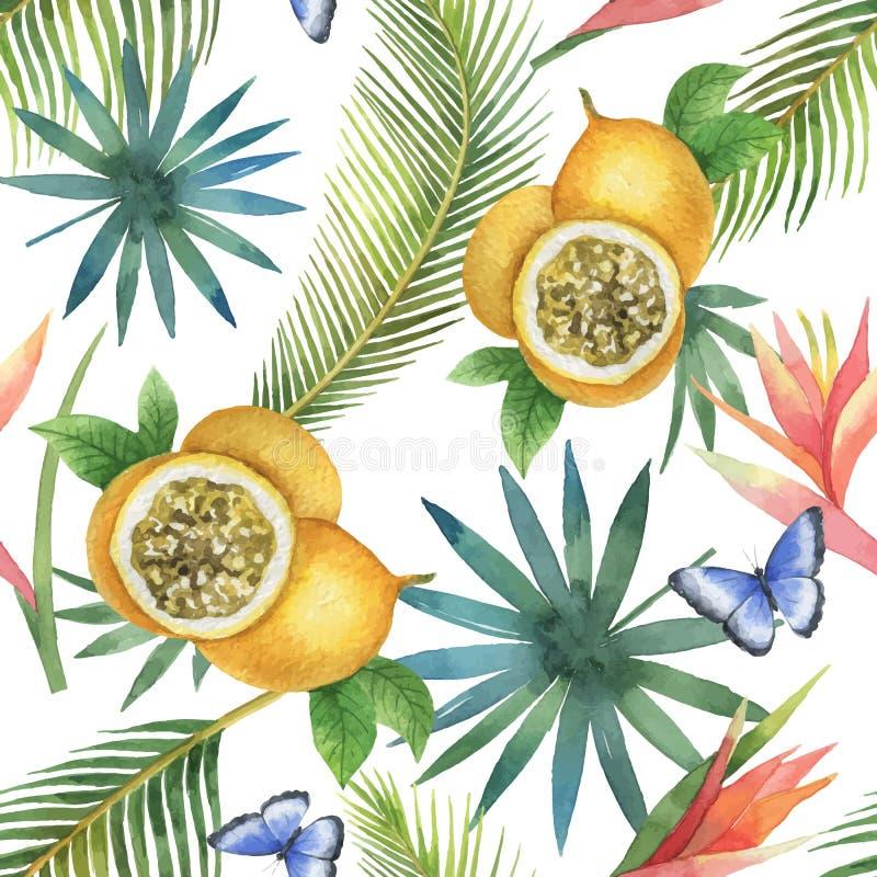 Sömlös modell för vattenfärgvektor av passionfrukt och palmträd som isoleras på vit bakgrund stock illustrationer