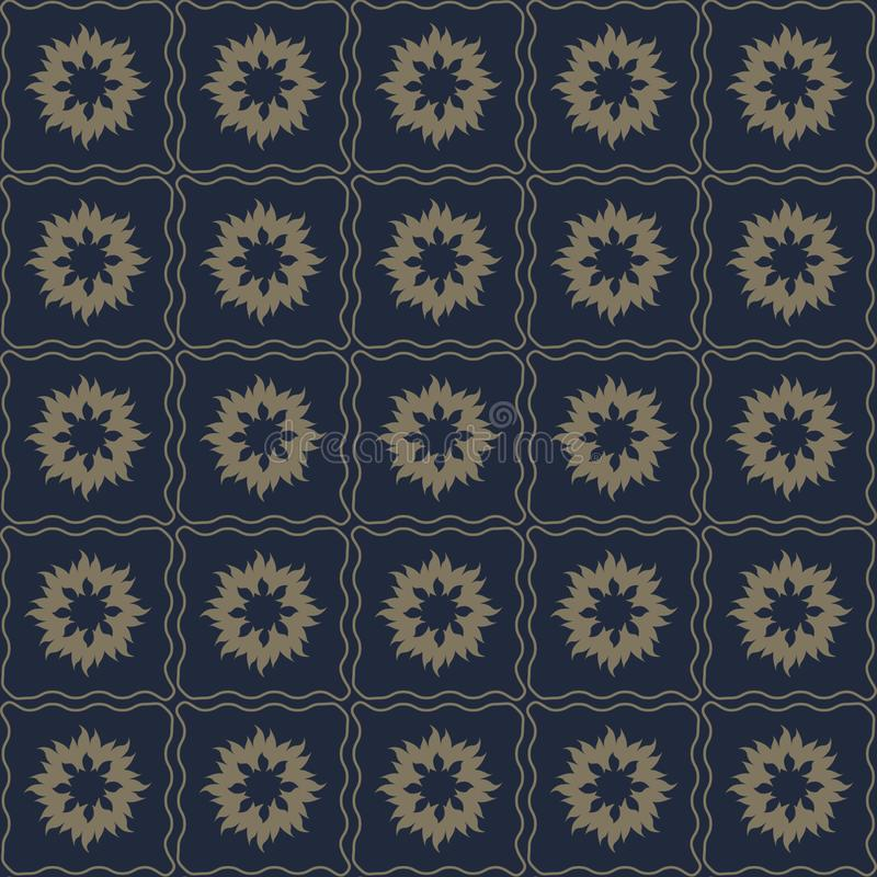 Sömlös modell för vektor av abstrakta blommor i subtil mörk färg vektor illustrationer