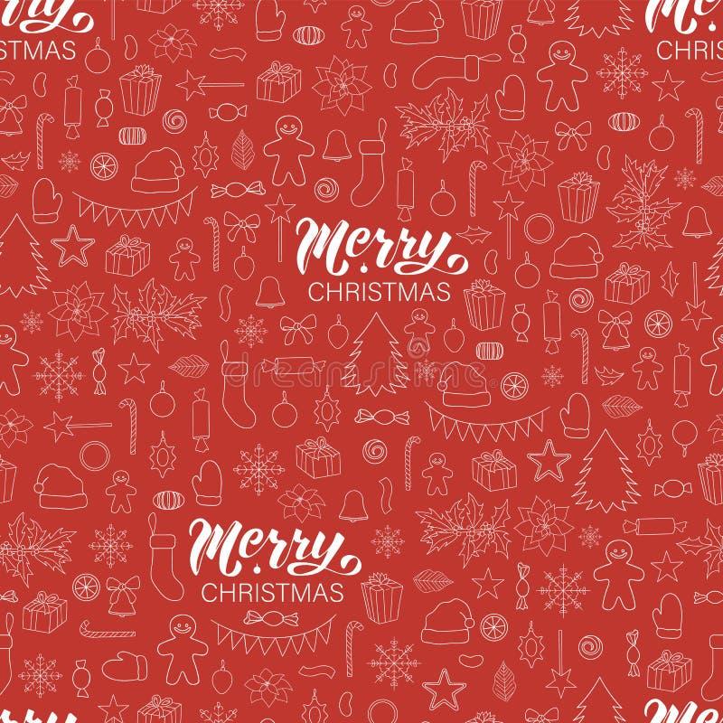 Sömlös modell för vektor av beståndsdelar för vit jul eller för nytt år på röd bakgrund stock illustrationer
