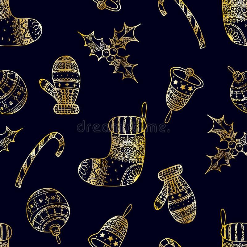 Sömlös modell för vektor av dekorativa symboler för guld- jul vektor illustrationer
