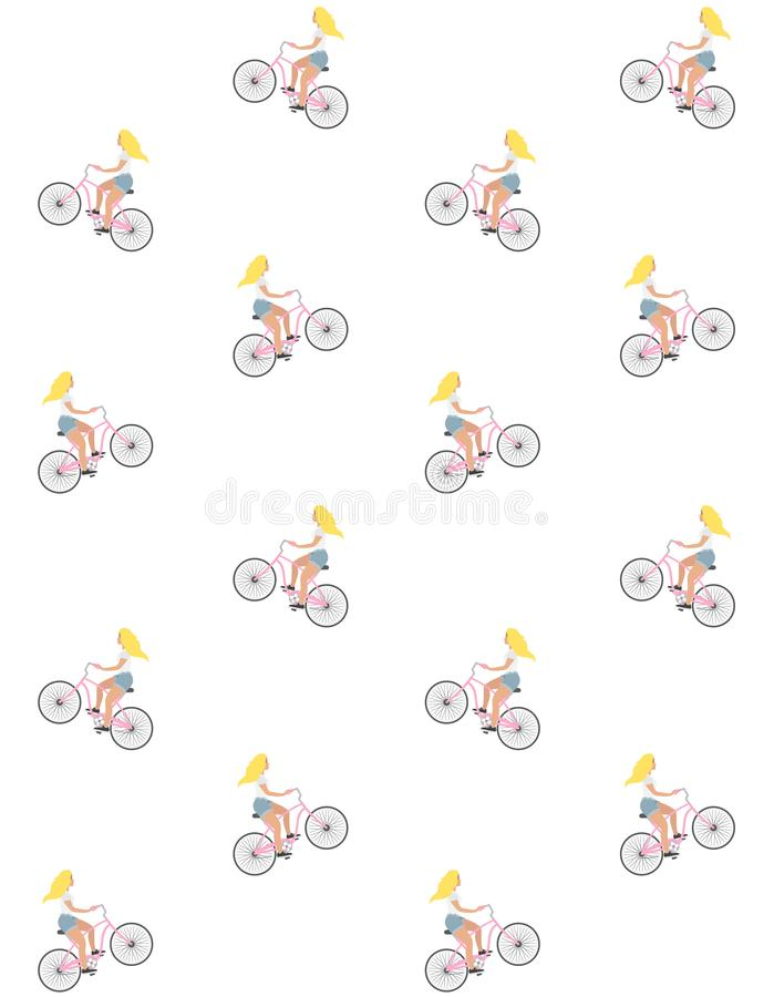 Sömlös modell för vektor av den blonda flickan för plan tecknad film som rider en cykel för tappningkryssningrosa färger på vit b stock illustrationer