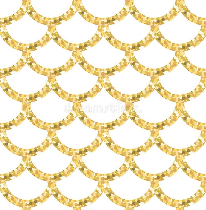 Sömlös modell för vektor av den guld- sjöjungfruskalan stock illustrationer