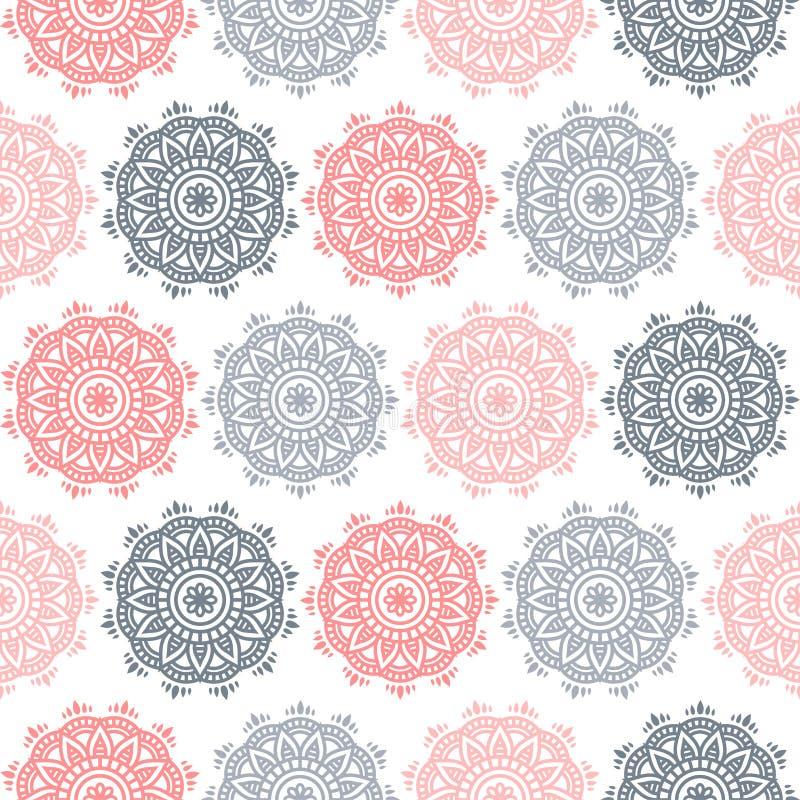 Sömlös modell för vektor av den runda blom- prydnaden Dekorativ arabesquemandaladesign Frodas illustrationen för hem- dekor royaltyfri illustrationer