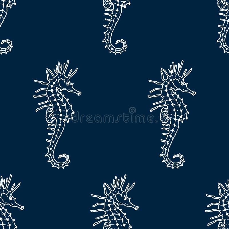 Sömlös modell för vektor av den vita seahorsekonturen stock illustrationer