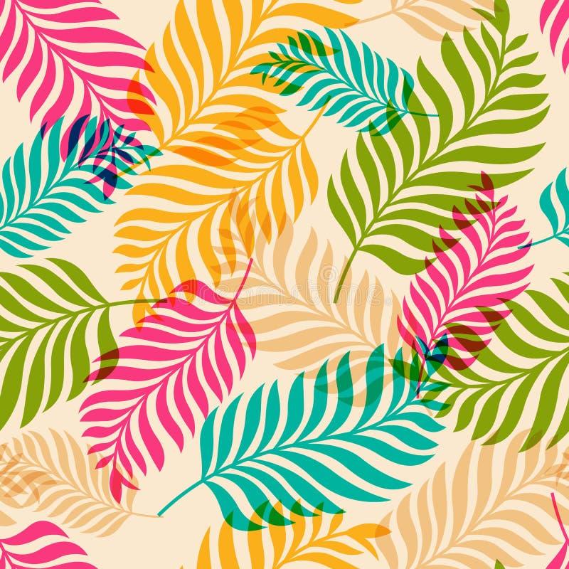 Sömlös modell för vektor av färgrika palmträdsidor Naturorg vektor illustrationer