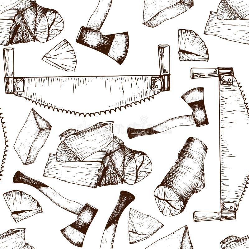 Sömlös modell för vektor av funktionsdugliga hjälpmedel för timmer Såg yxa, vedträn Tappning skissad engravred stil royaltyfri illustrationer