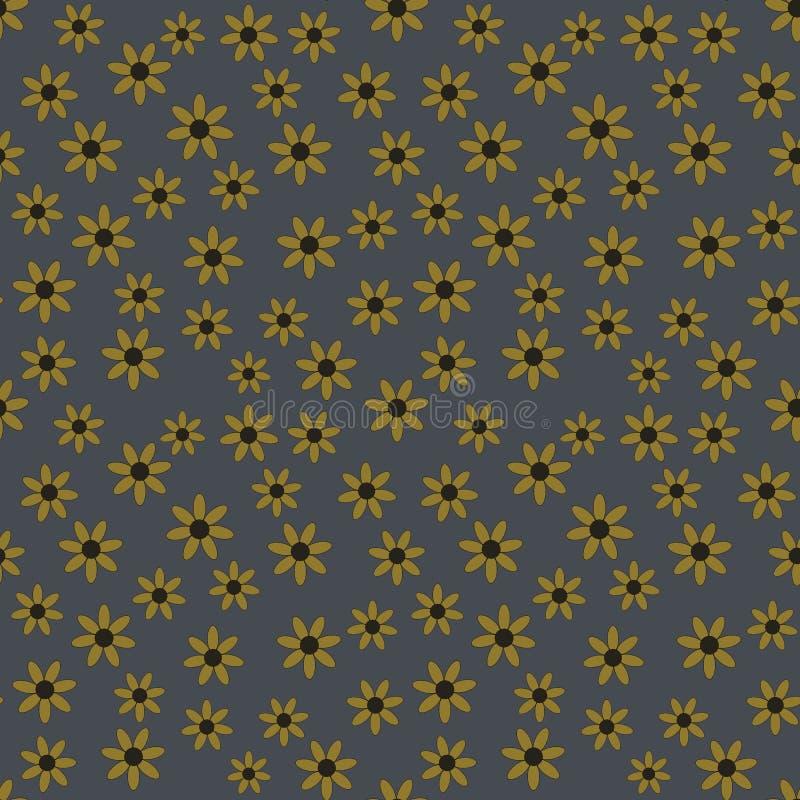 Sömlös modell för vektor av gula blommor på en grov bomullstvillbakgrund vektor illustrationer
