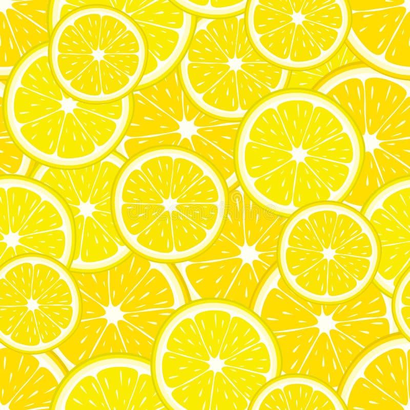Sömlös modell för vektor av gula citronskivor Citrusfruktillustration royaltyfri illustrationer