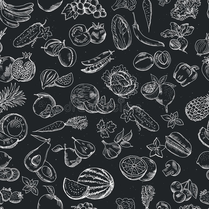 Sömlös modell för vektor av hand drog frukter och grönsaker Vita illustrationer på den mörka svart tavla royaltyfri illustrationer