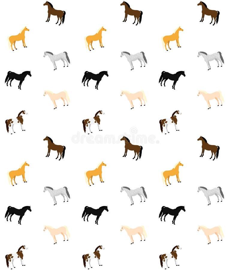 Sömlös modell för vektor av plana tecknad filmhästar om olika färger på vit bakgrund stock illustrationer
