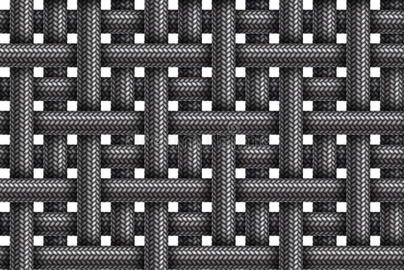 Sömlös modell för vektor av randigt tyg flätade kablar vektor illustrationer