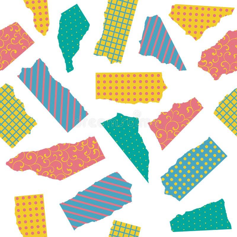 Sömlös modell för vektor av sönderrivet kulört papper med olika texturer och prydnader som isoleras på vit bakgrund vektor illustrationer