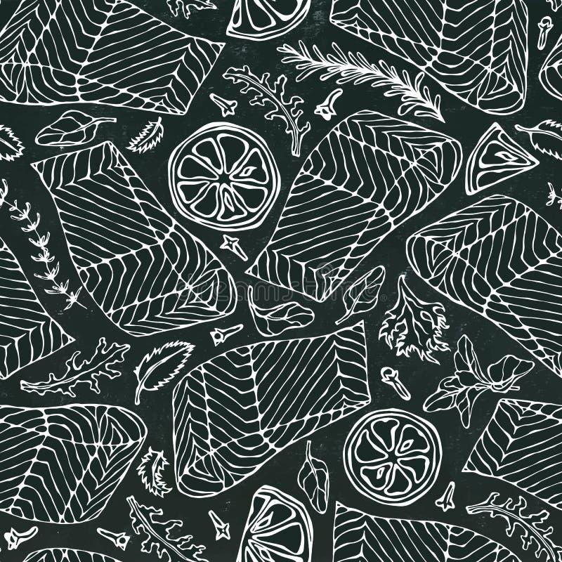 Sömlös modell för vektor av Salmon Fillet, citron, örter rosmarin, mejram, persilja, Rocket Salad, kryddnejlika på svart bräde stock illustrationer