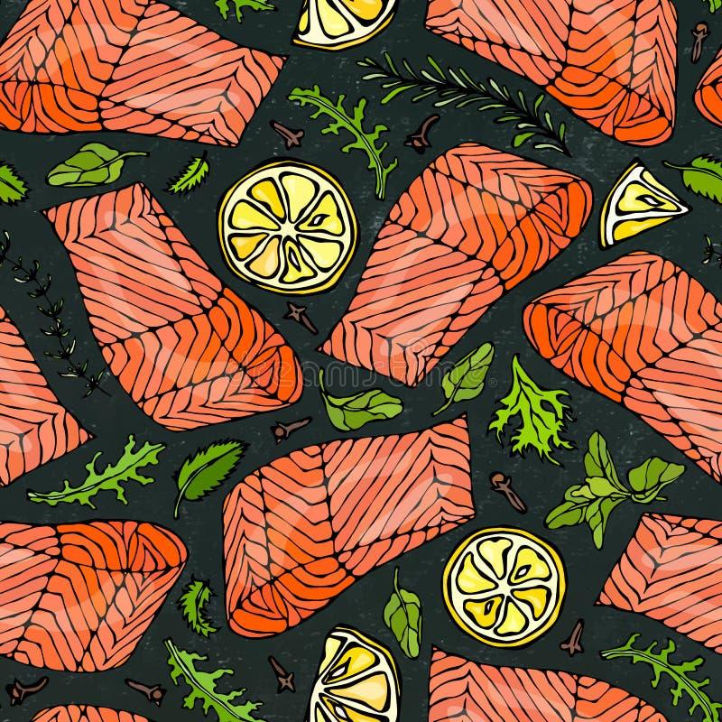 Sömlös modell för vektor av Salmon Fillet, citron, örter rosmarin, mejram, persilja, Rocket Salad, kryddnejlika på svart bräde royaltyfri illustrationer