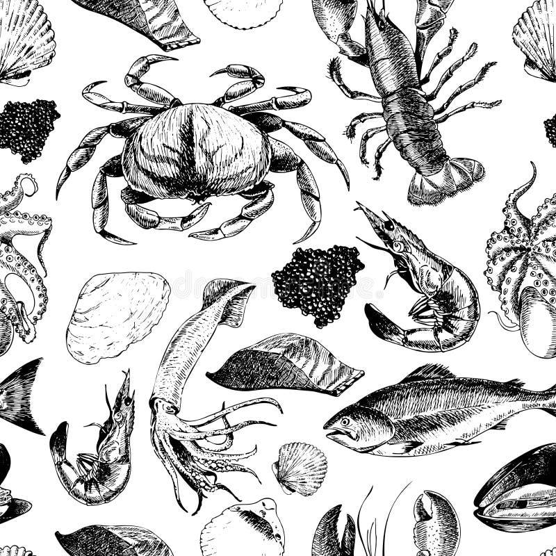 Sömlös modell för vektor av skaldjur Hummer, krabba, lax, kaviar, tioarmad bläckfisk, räka och musslor Hand drog inristade symbol royaltyfri illustrationer