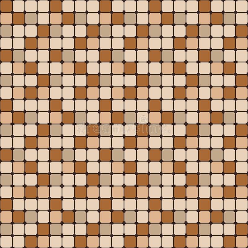 Sömlös modell för vektor av små släta fyrkanter Brunt och beige mosaik för keramisk tegelplatta stock illustrationer