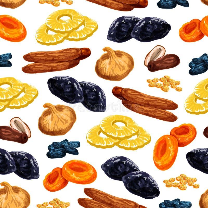 Sömlös modell för vektor av torkade fruktmellanmål stock illustrationer