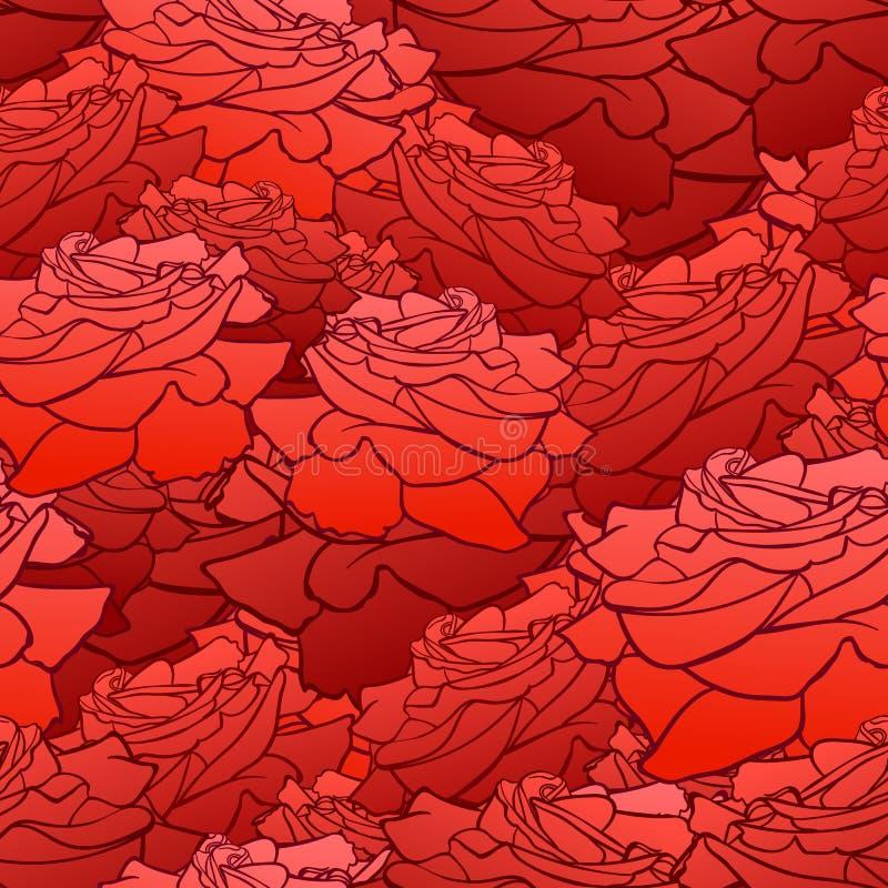 Sömlös modell för vektor, blom- bakgrund, roshuvud, ljus röd färg stock illustrationer