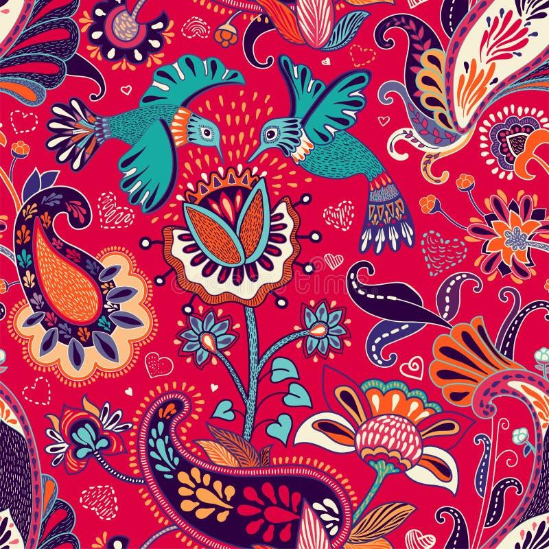 Sömlös modell för vektor, dekorativ indisk stil Stiliserade blommor och fåglar på den röda bakgrunden Färgrik tecknad filmillustr stock illustrationer