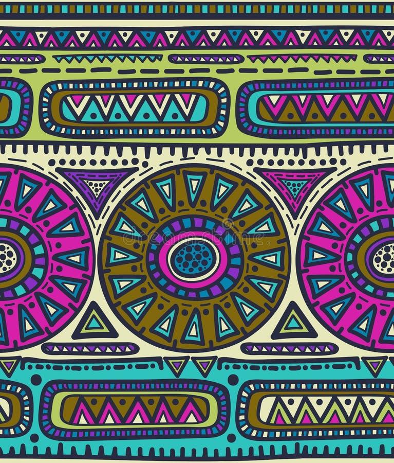 Sömlös modell för vektor för stam- design Etniskt motiv stock illustrationer