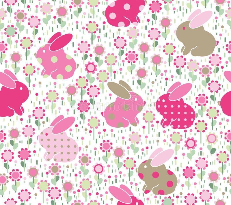 Sömlös modell för vektor, kaniner i blommor royaltyfri illustrationer