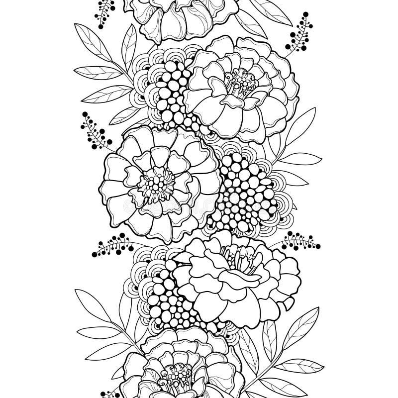 Sömlös modell för vektor med översikten Tagetes eller ringblommablomman stock illustrationer