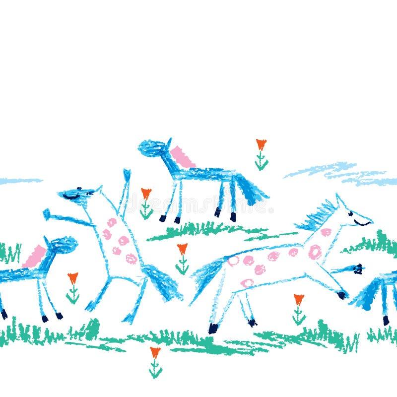 Sömlös modell för vektor med att dra för färgpennabarn av primitiva blåa hästar, grönt gräs och den röda blomman på den vita bakg vektor illustrationer