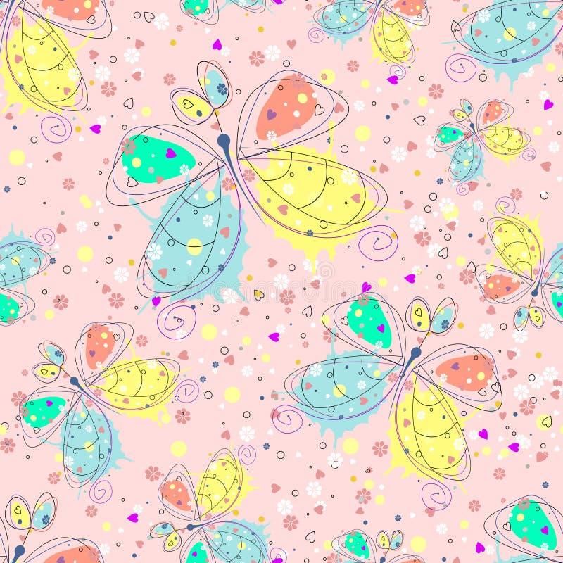 Sömlös modell för vektor med bakgrund för översikt för kryp hand dragen dekorativ ändlös med gullig dragen fjärilsdiagramillustra vektor illustrationer