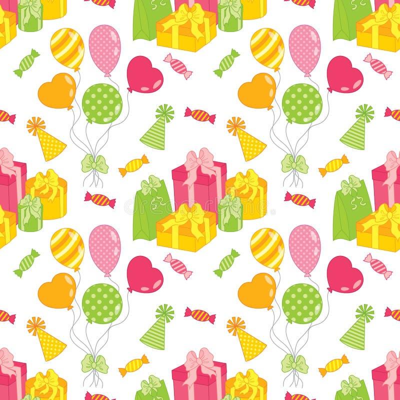 Sömlös modell för vektor med ballonger, sötsaker och gåvaaskar Sömlös modell för födelsedag och parti vektor illustrationer