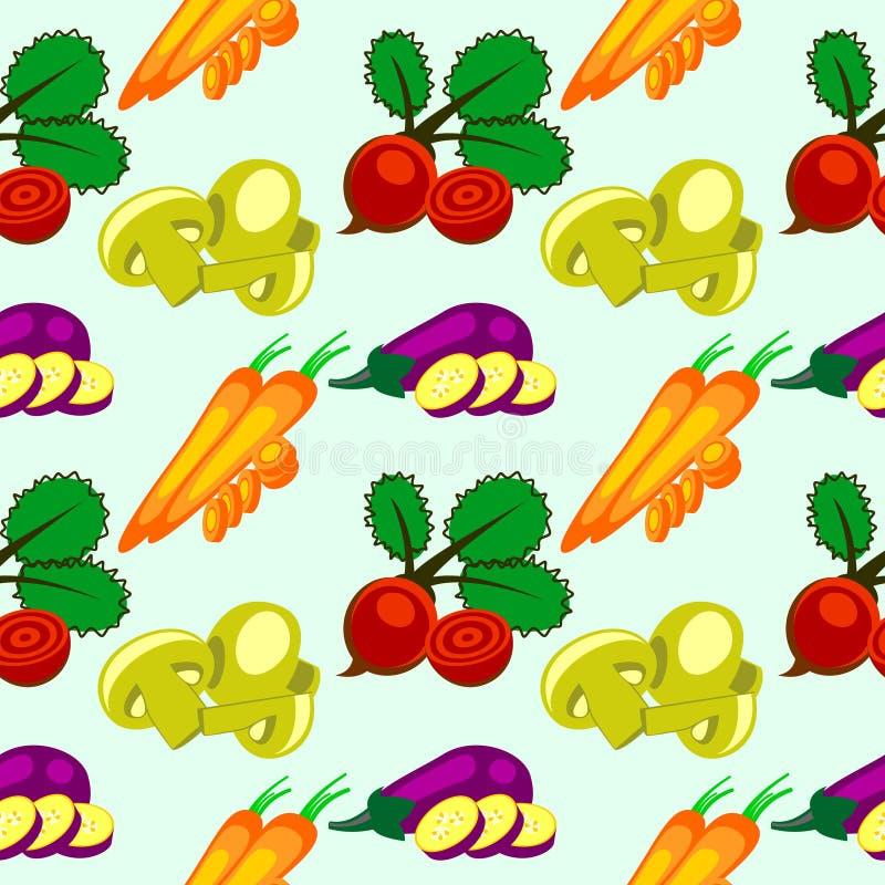 Sömlös modell för vektor med beståndsdelar av grönsaker: aubergine, beta, morötter och champinjoner stock illustrationer