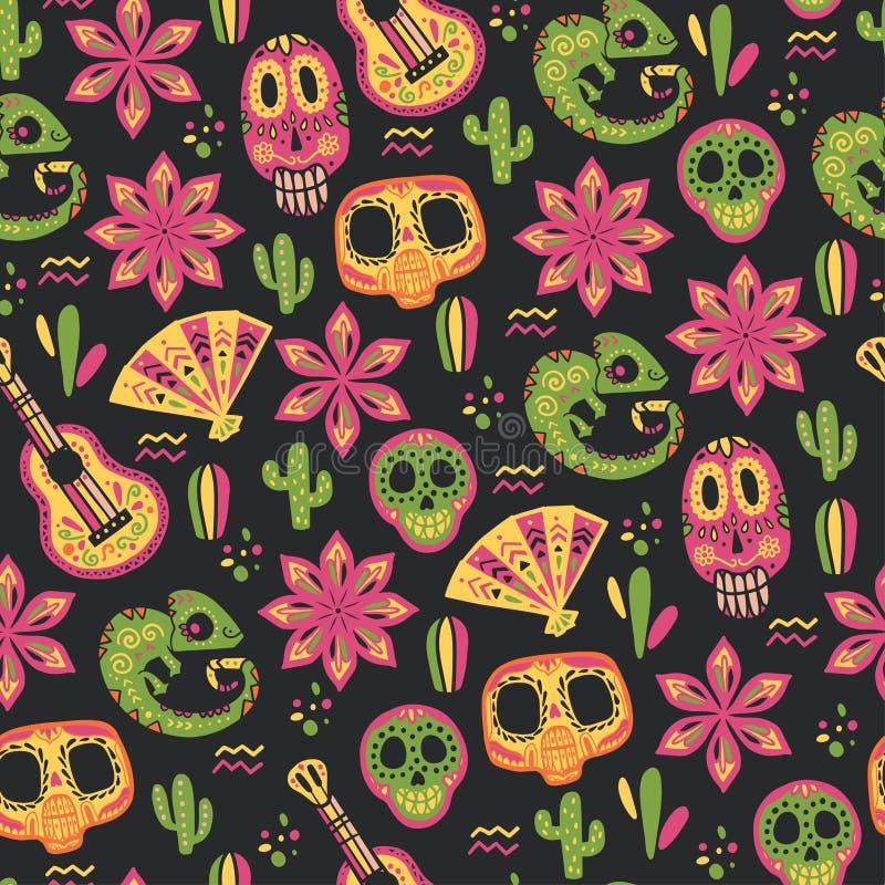 Sömlös modell för vektor med beståndsdelar för Mexico traditionella berömdekor - gitarr, skalle, kameleont, fan, kaktus, blomma & royaltyfri illustrationer