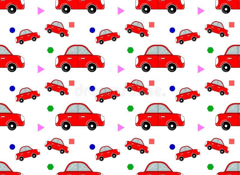 Sömlös modell för vektor med bilen Yttersida för inpackningspapper, skjortor, torkdukar, Digital papper stock illustrationer