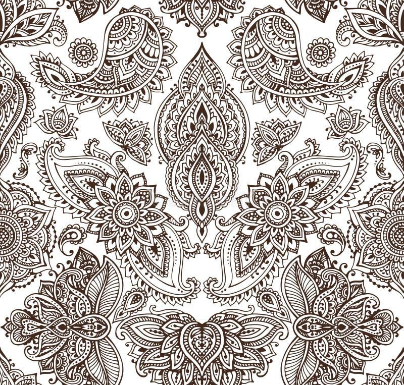 Sömlös modell för vektor med blom- beståndsdelar för hennamehndi royaltyfri illustrationer