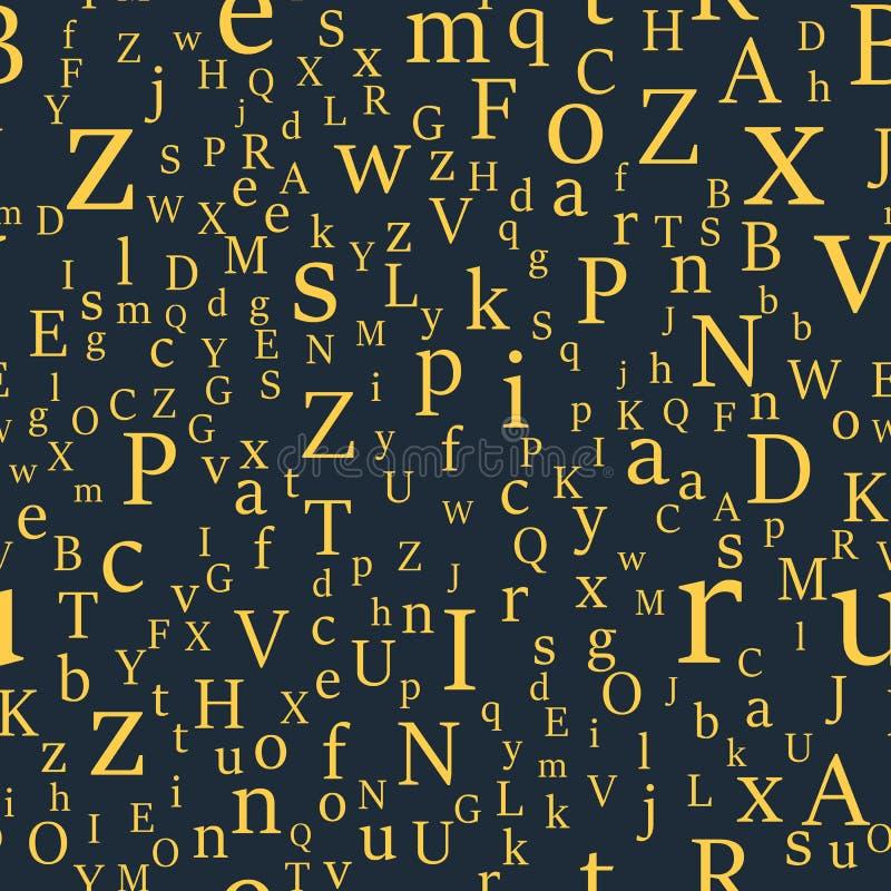 Sömlös modell för vektor med bokstäver av alfabetet i slumpmässig beställning vektor illustrationer