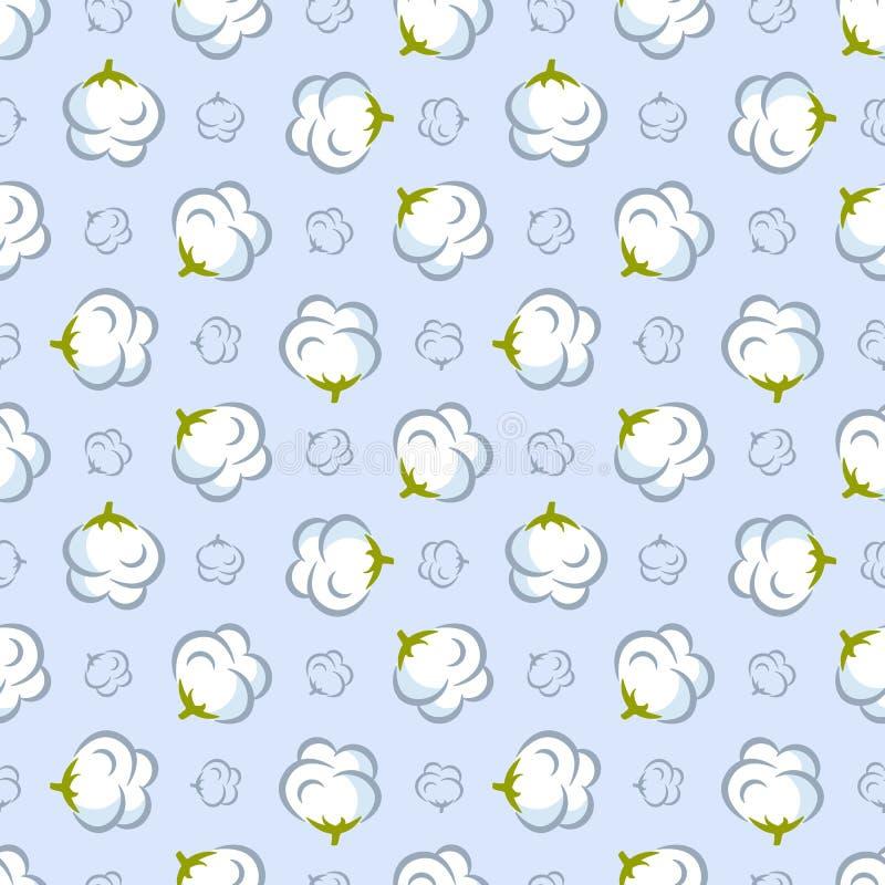 Sömlös modell för vektor med bomullsväxten på blå bakgrund vektor illustrationer