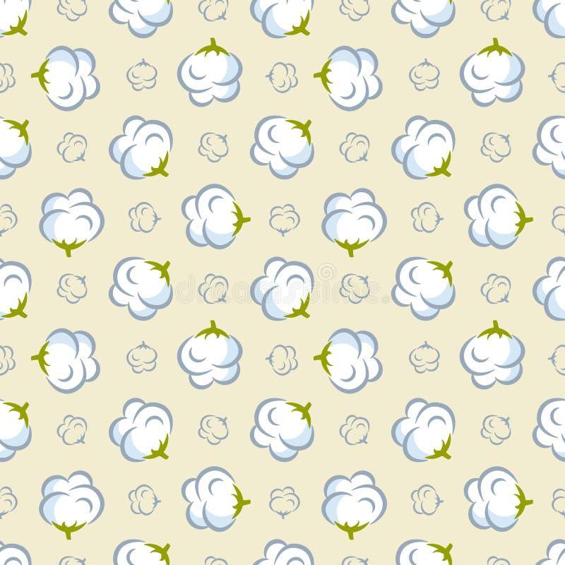 Sömlös modell för vektor med bomullsväxten på rosa bakgrund royaltyfri illustrationer