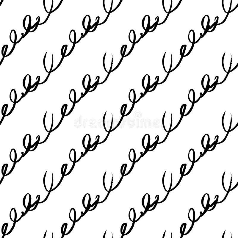 Sömlös modell för vektor med borstediagonalhandskrift Svart färg på vit bakgrund Hand kursiv målad lantgård stock illustrationer