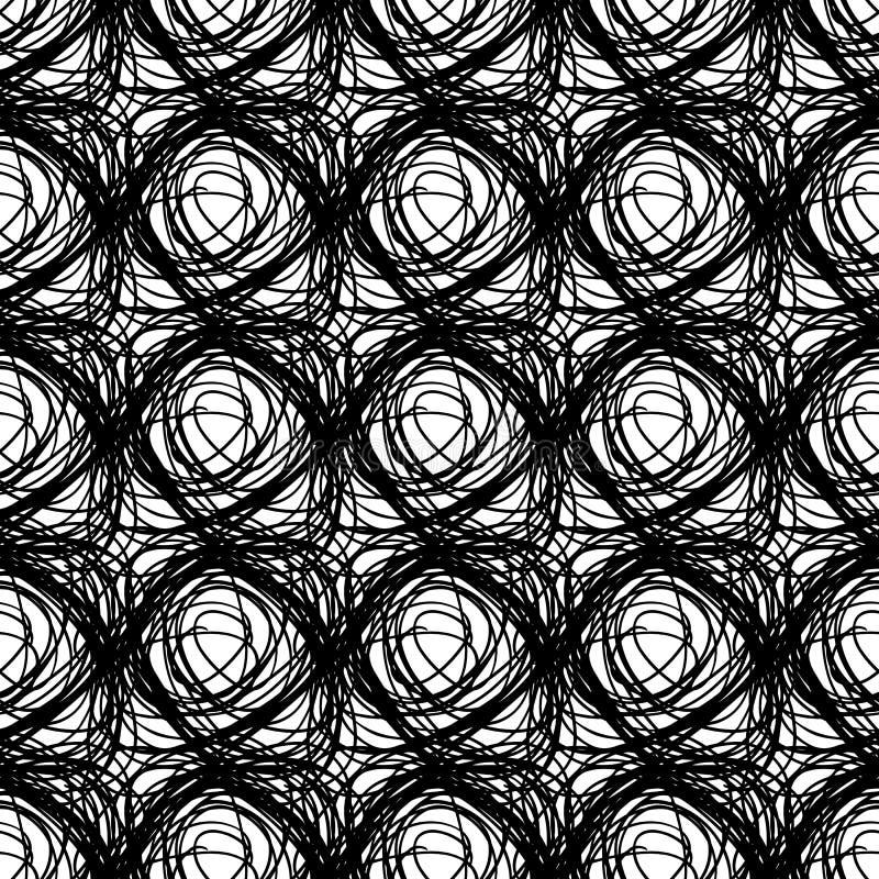 Sömlös modell för vektor med borsteklottercirkeln Svart färg på vit bakgrund Hand målad lantgårdtextur färgpulver royaltyfri illustrationer