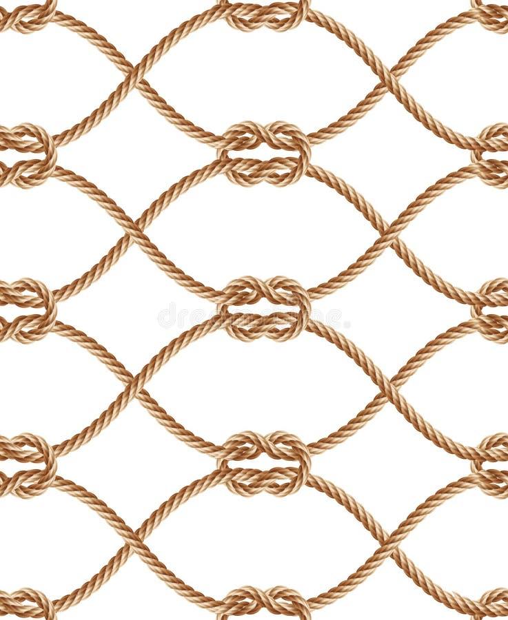 Sömlös modell för vektor med brunt vridna rep royaltyfri illustrationer